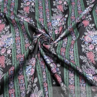 Stoff Baumwolle Satin schwarz Streifen Blumen blickdicht weich blumig