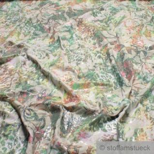 0, 5 Meter Stoff Viskose Elastan Single Jersey ecru Pailletten Blumen Stickerei
