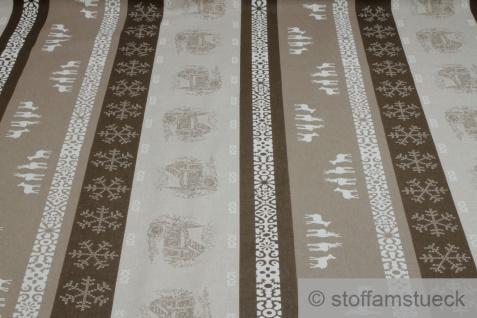 Stoff Weihnachtsstoff Baumwolle Polyester Rips natur Streifen Hirsch Hexenhaus