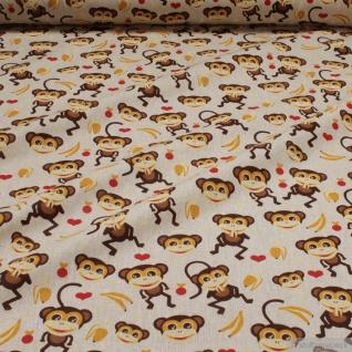 Stoff Kinderstoff Baumwolle Polyester Rips natur Affe Affen