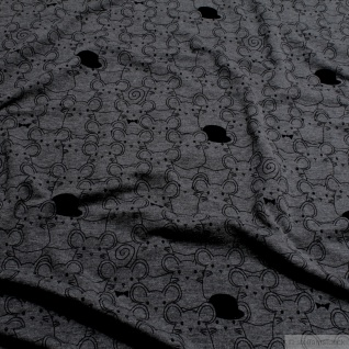 Kinderstoff Baumwolle Elastan Single Jersey dunkelgrau Maus schwarz meliert