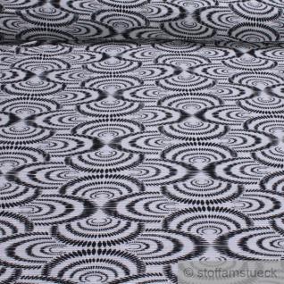 Stoff Polyester Interlock Jersey Plissee Kreis weiß schwarz