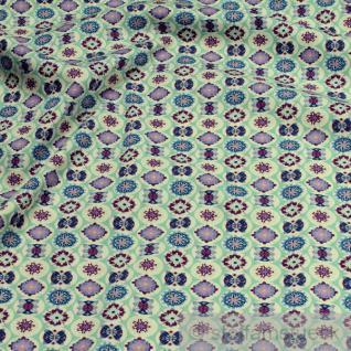 10 Meter Stoff Baumwolle Popeline pastelltürkis Mandala Baumwollstoff Blume
