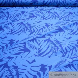 Stoff Viskose Polyester Polyamid Jacquard blau Dschungel