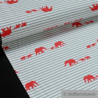 Kinderstoff Baumwolle Elastan Single Jersey Streifen weiß hellgrau Elefant