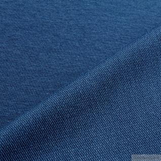 0, 5 Meter Stoff Baumwolle Elastan Single Jersey French Terry blau Sommer Sweat - Vorschau 2