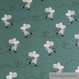 0, 5 Meter Kinderstoff Baumwolle Elastan Single Jersey grün Maus dehnbar weich - Vorschau 2