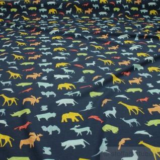 0, 5 Meter Stoff Baumwolle Elastan Single Jersey dunkelblau wilde Tiere Giraffe