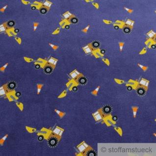 Stoff Kinderstoff Baumwolle Polyester Nicki blau Radlader Nicky Baumaschine - Vorschau 2