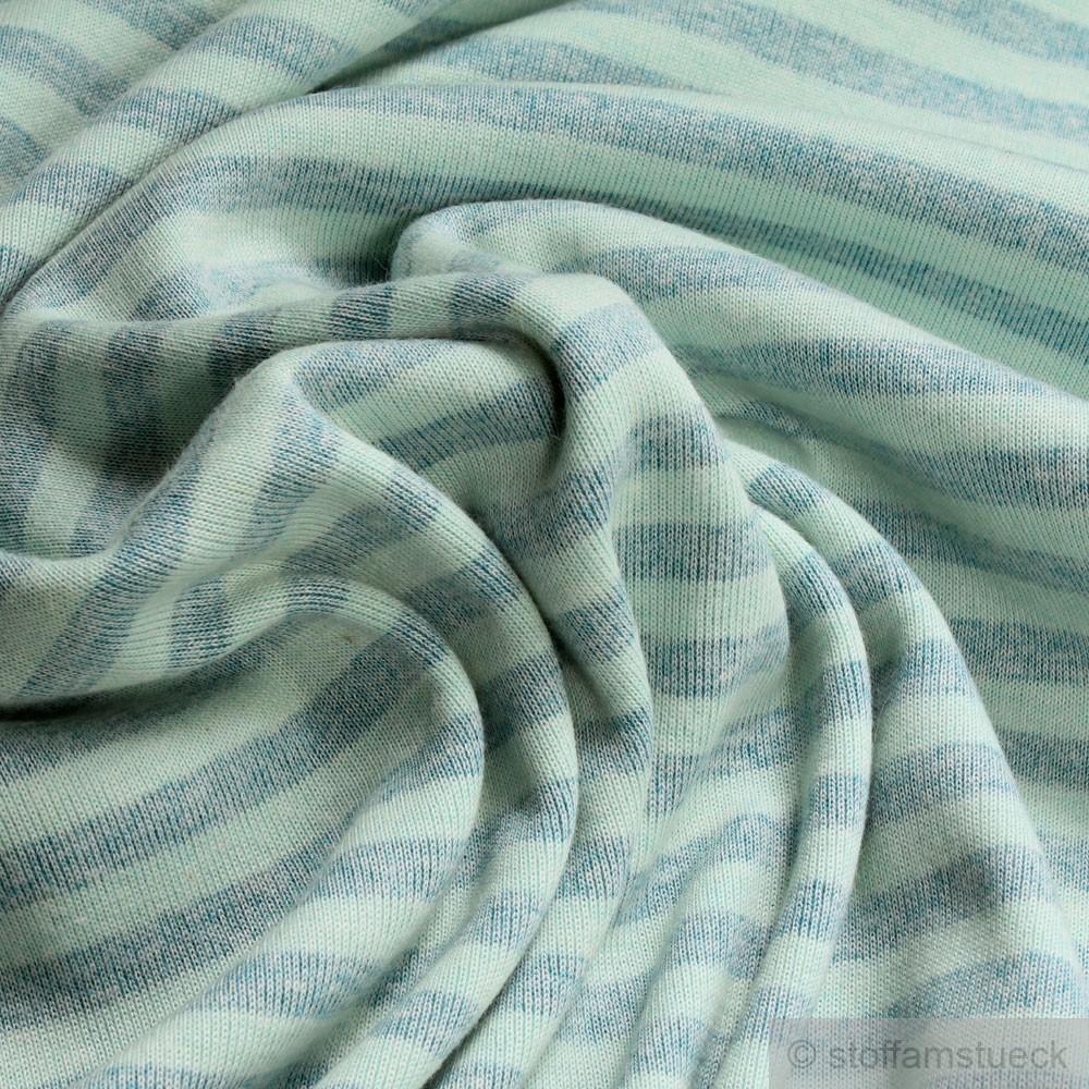 Stoff Polyester Bambus Baumwolle Interlock Jersey Streifen Aqua