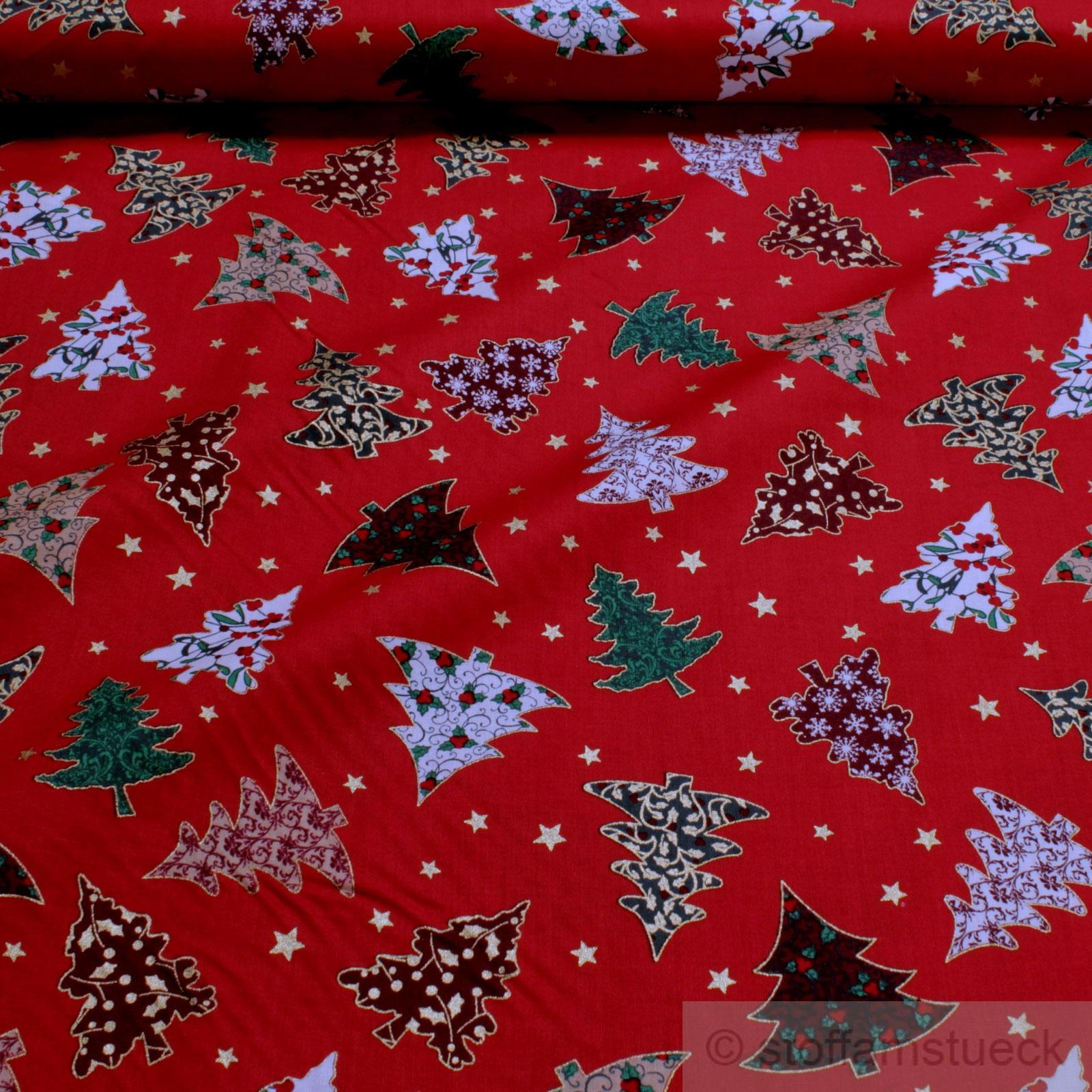 Weihnachtsbaum Rot.Stoff Weihnachtsstoff Baumwolle Rot Tannenbaum Weihnachtsbaum