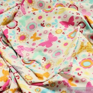 Kinderstoff Baumwolle Elastan Single Jersey ecru Blume Schmetterling Oeko-Tex