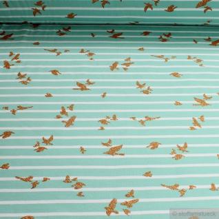 Stoff Baumwolle Elastan Single Jersey Streifen türkis weiß Vogel Glitzer Öko-Tex