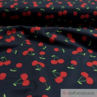Stoff Kinderstoff Polyester Elastan Softshell dunkelblau Kirsche atmungsaktiv