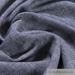Stoff Leinen Baumwolle Feinköper Fischgrat Streifen marine weiß fein leicht