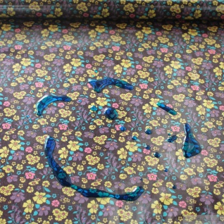 Stoff Baumwolle Polyurethan bordeaux Mille Fleurs kbA wasserabweisend
