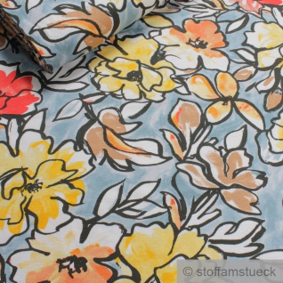 0, 5 Meter Stoff Viskose Elastan Single Jersey hellblau Blume fließend fallend