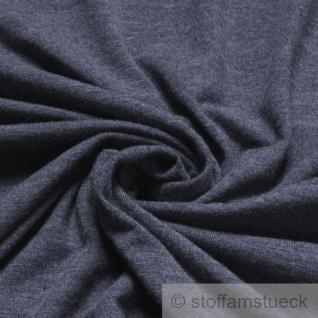 Stoff Polyester Viskose Lycra Single Jersey graublau meliert T-Shirt knitterarm