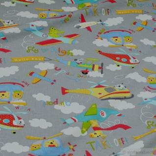 Stoff Kinderstoff Baumwolle Elastan Single Jersey hellgrau Flugzeug Oeko-Tex 100 - Vorschau 2