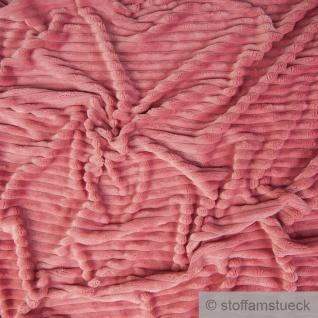 Stoff Polyester Minky Fleece rosa Streifen Soft Fleece Mole Fleece Softplüsch