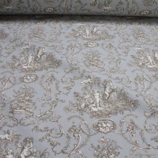 Stoff Baumwolle Rips Toile de Jouy Putte hellgrau beige 280 cm breit Engel