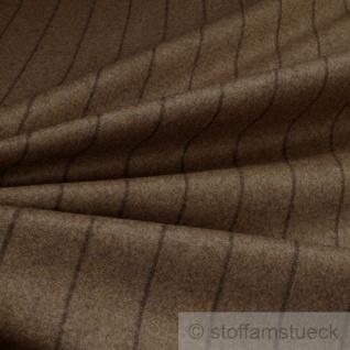Stoff Wolle Polyamid Flanell braun Streifen dunkelbraun angeraut blickdicht weich