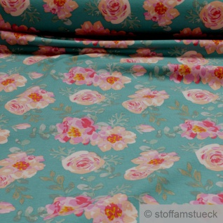 0, 5 Meter Stoff Baumwolle Elastan Single Jersey French Terry türkis Rose Sweat Blumen floral