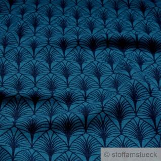 0, 5 Meter Stoff Baumwolle Elastan Single Jersey blau Palme Palmwedel