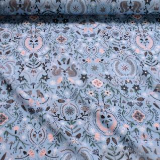 Stoff Baumwolle Elastan Single Jersey blau Eichhörnchen Vögel Eicheln Wald - Vorschau 2