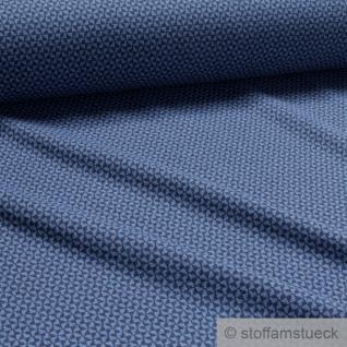 Recycelt Stoff Baumwolle Polyester Elastan Jacquard Jersey Raute dunkelblau blau - Vorschau 2