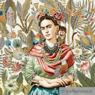 Stoff Kissen Panel Polyester Baumwolle Gobelin beige Frida Dschungel 50 x 50 cm