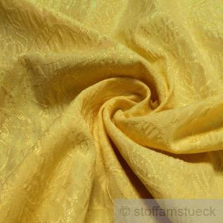 Stoff Baumwolle Polyester Lurex Lycra Jacquard gelb Blumen Ton in Ton glitzrig