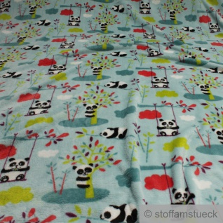 Stoff Kinderstoff Polyester Wellness Fleece türkis Panda Wolke kuschelig weich