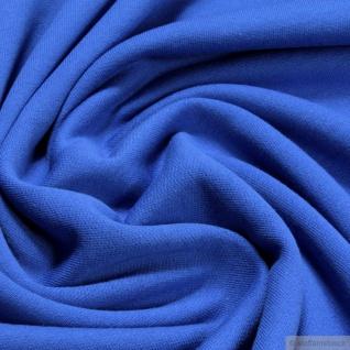 0, 5 Meter Stoff Baumwolle Single Jersey kobaltblau angeraut Sweatshirt weich