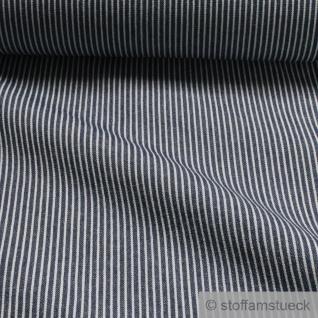 Stoff Baumwolle Köper Streifen dunkelblau weiß 7.7 oz blickdicht weich