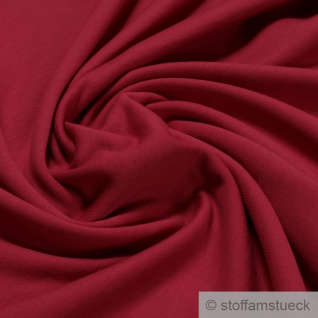 Stoff Baumwolle Single Jersey angeraut kirschrot Sweatshirt weich dehnbar rot