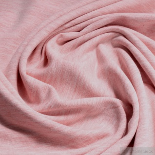 0, 5 Meter Stoff Baumwolle Polyester Elastan French Terry rosa meliert