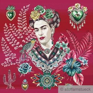 Stoff Kissen Panel Polyester Baumwolle Gobelin pink Frida 50 x 50 cm