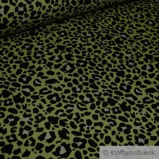 0, 5 Meter Stoff Baumwolle Elastan Single Jersey oliv Leopard angeraut grün