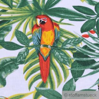 Stoff Baumwolle weiß Dschungel Papagei breit 280 cm Blatt Blätter Palme - Vorschau 4