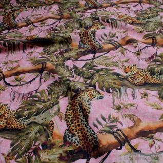Stoff Baumwolle Rips pink Afrika 280 cm breit Leopard Dschungel Liane
