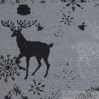 Stoff Baumwolle Lurex Elastan Jacquard Jersey grau Hirsch Öko-Tex Standard 100 - Vorschau 3
