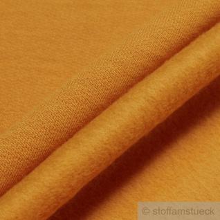 0, 5 Meter Stoff Baumwolle Single Jersey ocker angeraut Sweatshirt weich gelb - Vorschau 3
