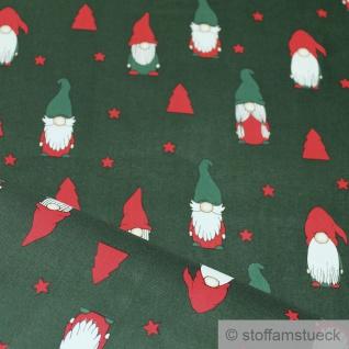 Stoff Weihnachtsstoff Baumwolle tannengrün Wichtel Baumwollstoff grün Gnom