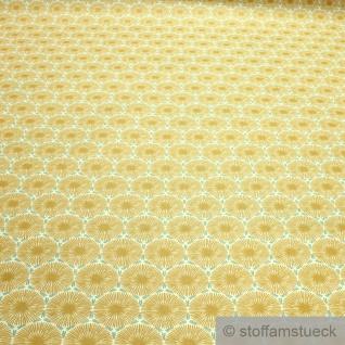 Stoff Baumwolle Acryl Pusteblume ocker wasserabweisend beschichtet