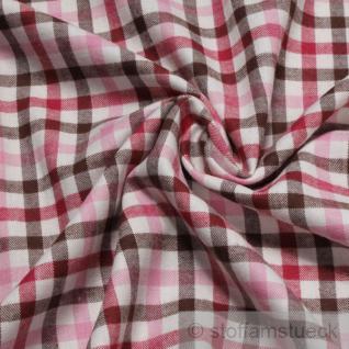 Stoff Baumwolle Flanell Karo ecru dunkelbraun pink bügelarm Baumwollstoff