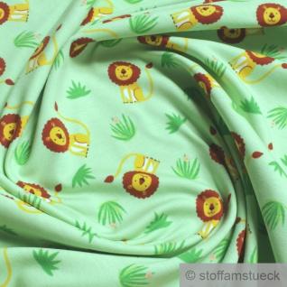 0, 5 Meter Stoff Kinderstoff Baumwolle Elastan Single Jersey hellbgrün Löwe