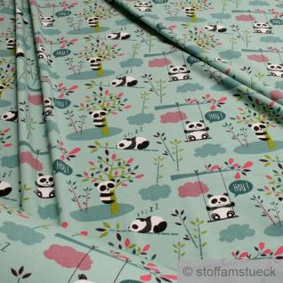 0, 5 Meter Kinderstoff Baumwolle Elastan Single Jersey türkis Panda Pandabär