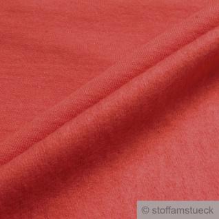 0, 5 Meter Stoff Baumwolle Single Jersey koralle angeraut Sweatshirt weich orange - Vorschau 2