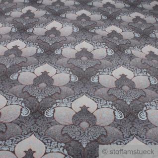Stoff Polyester Samt braun Ornament petrol weich anschmiegsam - Vorschau 2